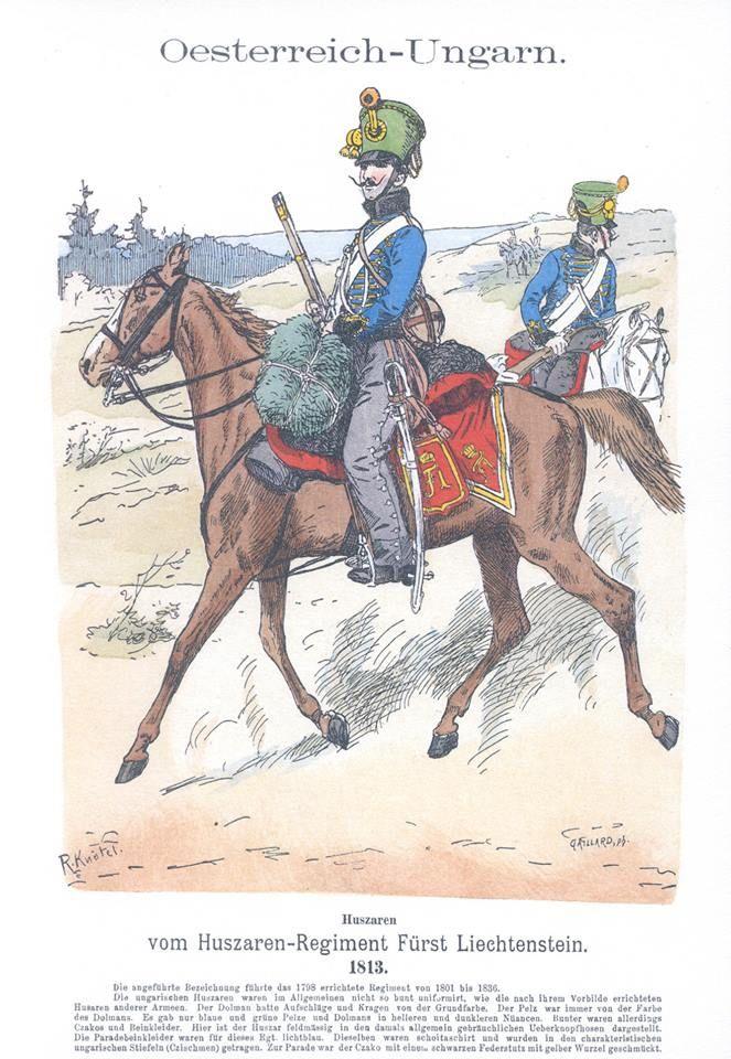 Band III #19.- Österreich-Ungarn. Husaren-Regiment Fürst Liechtenstein. 1813.