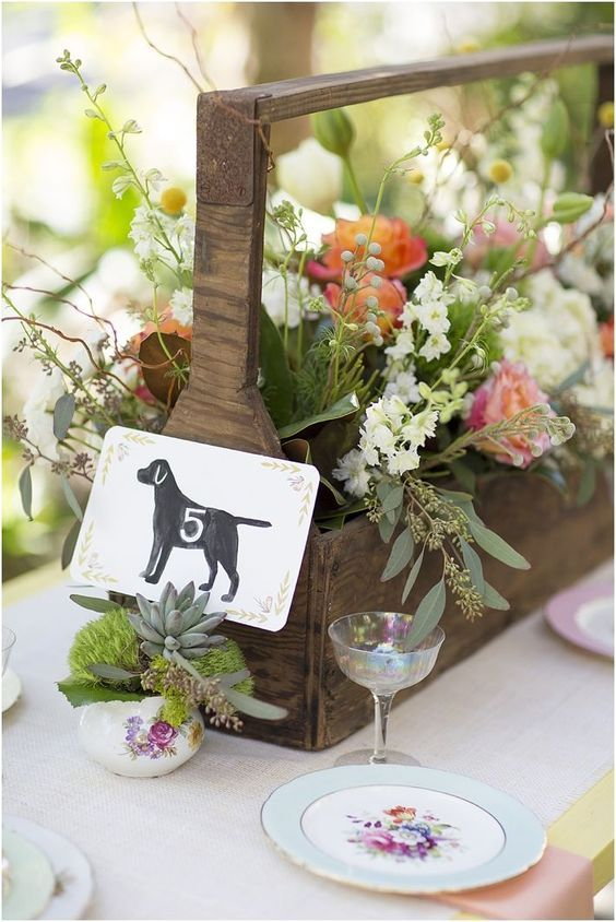 Dog table numbers. Wedding ideas for dog lovers #wedding #dog #pet