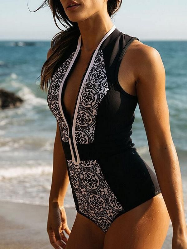 63dcaa8a7ac Black Print Detail Zip Front Swimsuit in 2019