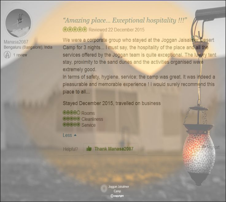 Customer Satisfaction is Joggan Jaisalmer Camps utmost Priority. More reviews at https://goo.gl/wWZ9iv