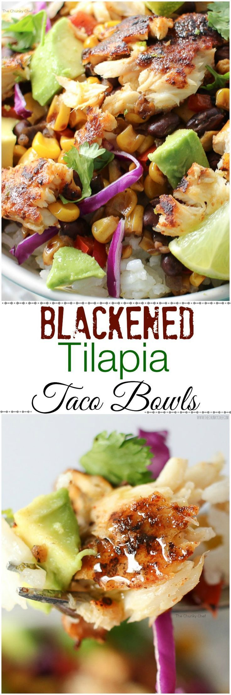 Blackened Tilapia Taco Bowls - Taco bowls get a healthy twist with the addition of spicy blackened tilapia filets, garnished with buttery avocados and a splash of fresh lime juice!