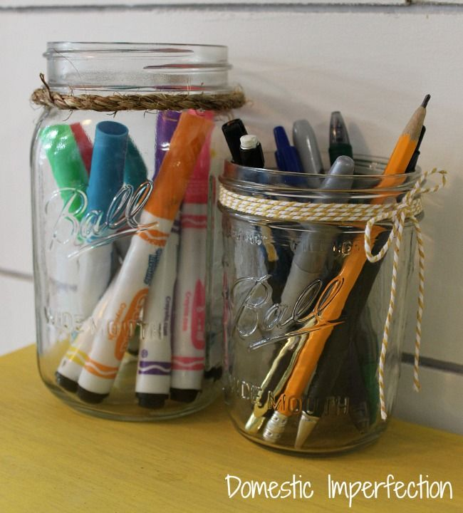 canning jars as desk organizers