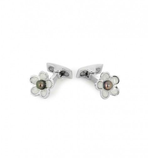 Miss Links 'Victoria' sterling silver daisy cufflinks with enamel petals and grey pearl centre stone