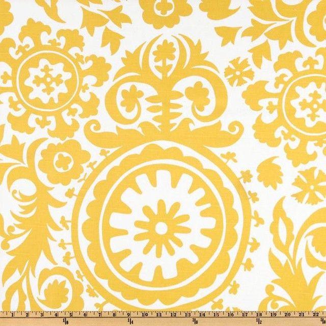 Premier Prints Suzani Slub, Yellow/White mediterranean upholstery fabric