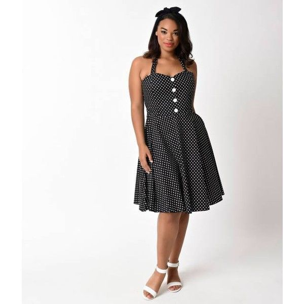 Plus Size 1950s Black & White Polka Dot Halter Swing Dress ($30) ❤ liked on Polyvore featuring dresses, black and white plus size dresses, swing dress, plus size swing dress, halter swing dress and plus size summer dresses