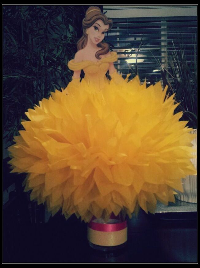 Princess Belle Centerpiece | Jena's 5th Birthday | Pinterest Beauty And The Beast Belle Pink Dress