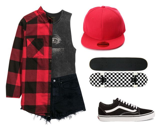 """""""Skatepark With Michael"""" by ashfie ❤ liked on Polyvore featuring RVCA, Alexander Wang, H&M, Vans, black, red, vans, skate and michaelclifford"""