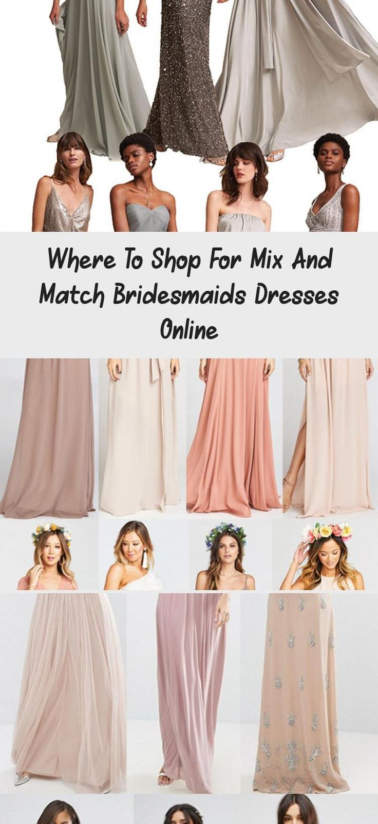 Searching for where to shop for mix and match bridesmaids dresses online? I've listed out my top five shops for gorgeous mix and match bridesmaids dresses for any time of year. Black mix and match bridesmaids dresses. Nude mix and match bridesmaids dresses. Blush mix and match bridesmaids dresses. Blue mix and match bridesmaids dresses. Gray mix and match bridesmaids dresses. How to pull off mix and match bridesmaids dresses. Mismatched bridal party. Stunning mismatched bridal party. How to: Mix