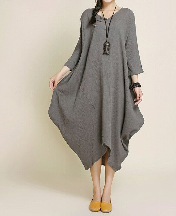 Women Loose Fitting long dress asymmetry Robe by MaLieb on Etsy