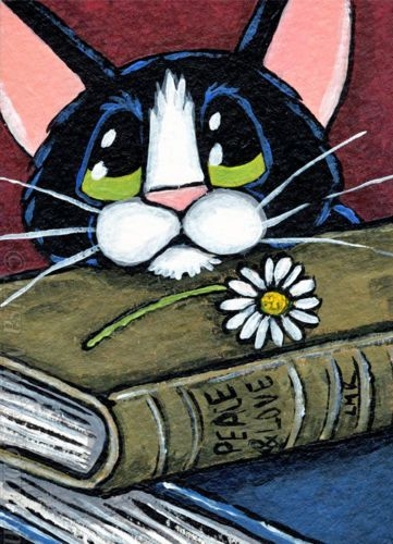 Original-Tuxedo-Cat-ACEO-by-Lisa-Marie-Robinson-Books-Daisy-Offering-Animals