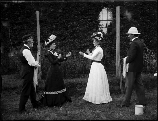 Vintage women boxing.Not the most practical of boxing outfits. I'm guessing this would be late 1800s?