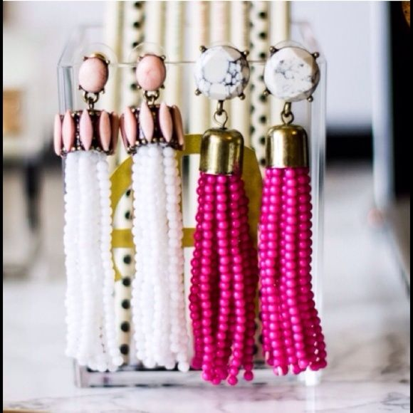 Bauble Bar Hot Pink Tassel Earrings Perfect condition.  Never worn.  Hot pink tassel earrings.  Only selling hot pink pair in first picture.  Add color to any outfit!  Super light!! Bauble Bar Jewelry Earrings