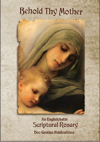 This is the cover of my new book Behold Thy Mother an English/Latin Scriptural Rosary. It is loaded with beautiful sacred art, meditations on each Mystery by a saint, pope or esteemed Catholic theologian, and it is adorned with gorgeous medieval era graphics. It is filled with truth, beauty, and goodness. It will help in meditating on the Mysteries of the Rosary. Check it out at my website: www.beholdthymother.com