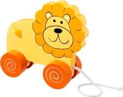 Lion Pull Along on wheels Orange Tree Toys wooden toy