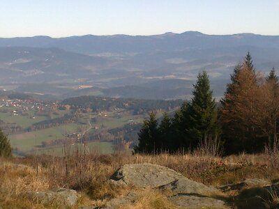 Blick vom Pröller nach Kollnburg und den Gipfeln des Bayer. Waldes
