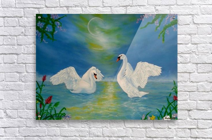 Acrylic Print, for sale, swans, lake, scene, romantic, nightscape, love, poetic, fantasy, dreamlike, imagination, painting, underwater, world, scene, wildlife, nature,vivid,colorful,turquoise,blue,beautiful,awesome,cool,superb,amazing,fabulous,magnificent,realistic,figurative,fine,oil, art, images, decor, items, ideas, pictorem