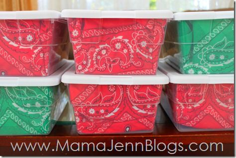 Use a bandana or other colorful fabric to line a plastic box instead of trying to wrap paper around it.