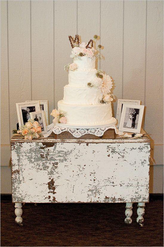 Our bride Ally's shabby chic wedding cake featured on the wedding blog http://www.weddingchicks.com/2012/10/31/peach-gray-and-white-wedding-ideas/#. Blair Nicole Photography.