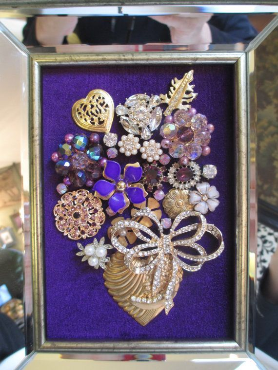 Jeweled Framed Jewelry Art Flower Bouquet Purple Gold Mirrored A