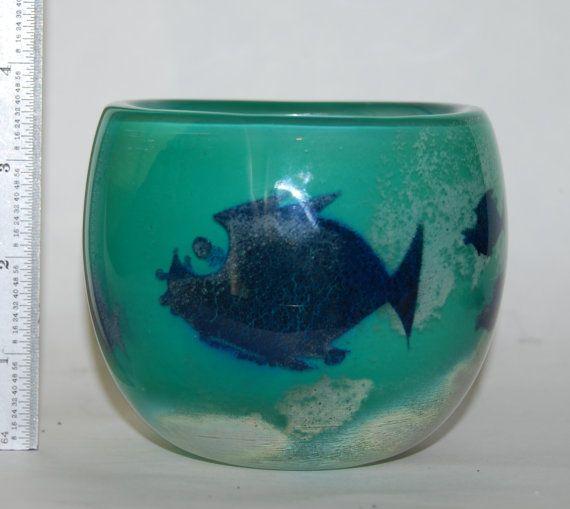 Vintage Hadeland Fish Glass Bowl Vase Signed Severin by Savesitall