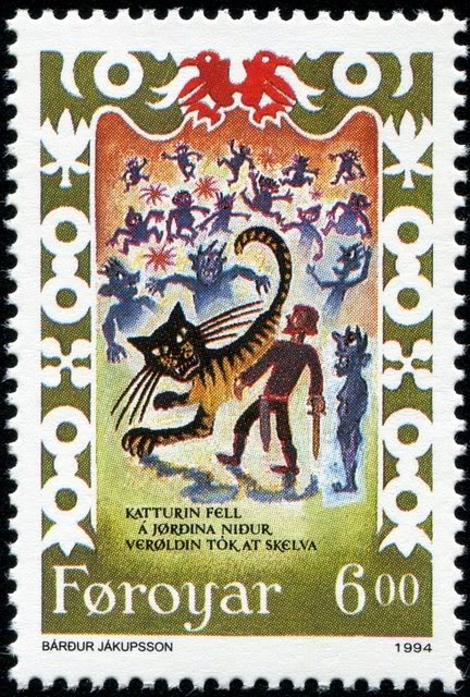 """Ormar kills the cat,"""" a scene from Brusajokil's Lay, a traditional Faroese song 