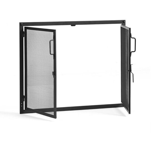 Pottery Barn Industrial Fireplace Door Screen ($899) ❤ liked on Polyvore featuring home, home decor, fireplace accessories, black, fireplace doors screens, black home decor, industrial home decor, black fireplace screen and pottery barn
