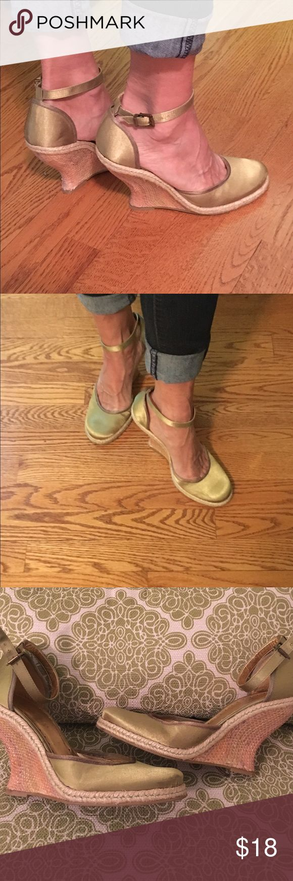 BCBG lime satin green espadrille wedge. Excellent condition. Gently worn. Wedge heel has intricate basket weave pattern. BCBG Shoes Espadrilles
