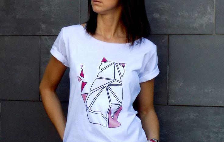"""2 WERSJE - t-shirt luźny fason """"KOT KRESKOWY"""" - AK-Creativo - Koszulki z napisami"""