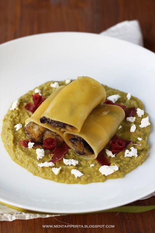 Menta Piperita and Co.: Paccheri ripieni di zucchine e burrata, su crema di piselli con giuncata e straccetti di bresaola