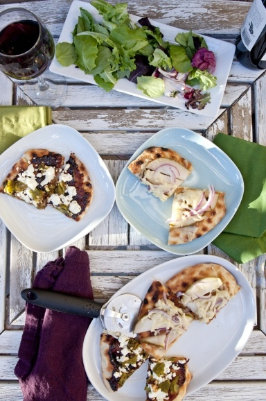 Ideas for toppings on grilled flatbreads (pear/gruyere/red onion) & (fig/goat cheese/green chiles)