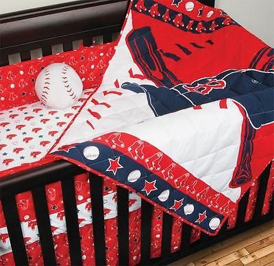 Boston Red Sox MLB Licensed Baby Nursery Quilted 4 Piece Crib Bed Set