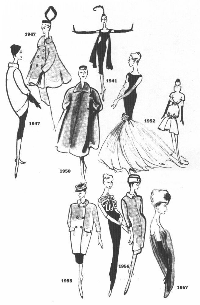 153 best old style images on pinterest retro fashion fashion 1963 Women's Fashion cristobal balenciaga s sketches 1941 1957