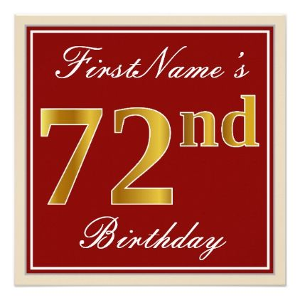 Elegant Red Faux Gold 72nd Birthday; Custom Name Card - red gifts color style cyo diy personalize unique