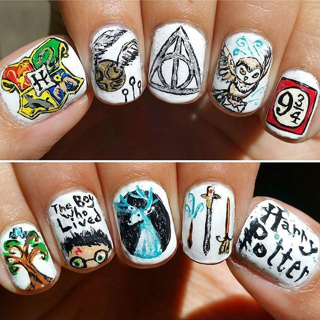 Harry Potter Foreva! ⚡✨ #harrypotter #harrypotternails #whompingwillow…
