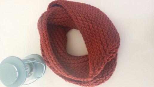 Infinity scarf in RUST. Visit www.facebook.com/oopsie.daisy.scarves.cards to order