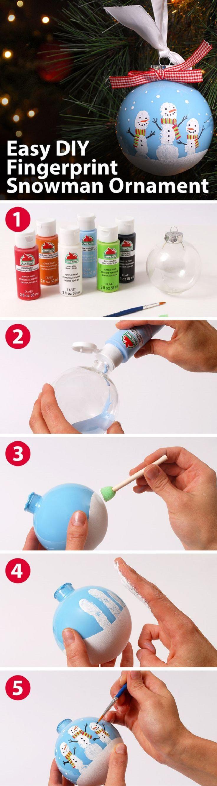 Easy DIY Fingerprint Ornament - 15 Pretty Handmade DIY Christmas Ornaments | GleamItUp