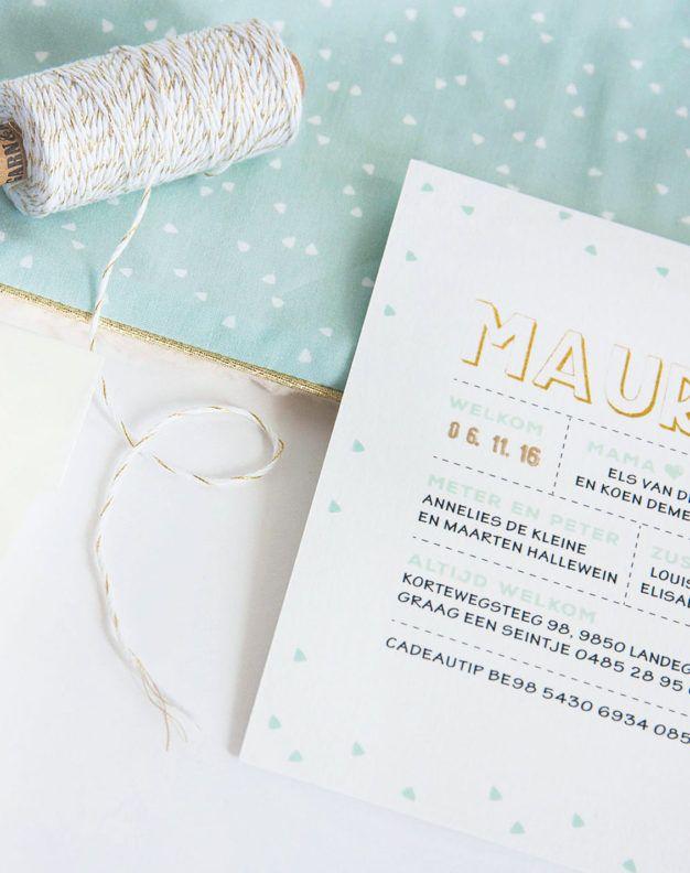 Geboortekaartje met munt en goud, gecombineerd met een passend dekentje (c)Alsjeblief.be