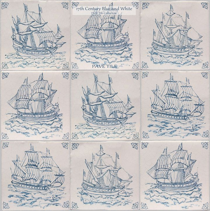 17th Century Antiqued Delft Blue and White Decorative Wall Tile: