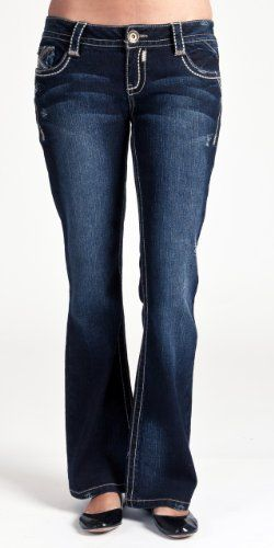 Wallflower Junior Vintage Heavy Stitch Legendary Bootcut Jean in Blue Buffalo Wash.