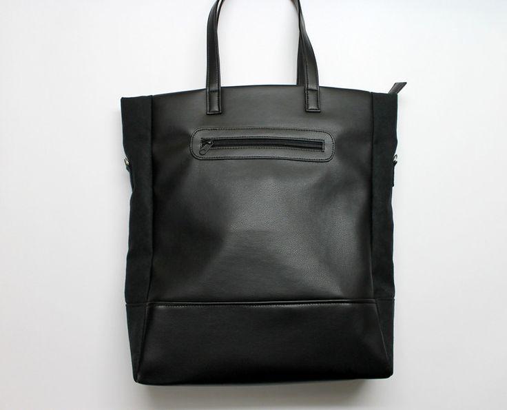 Shopper Bag - czarna skóra + boki zamsz czarny - PracowniaTorebkiNiezwykle - Torby na ramię