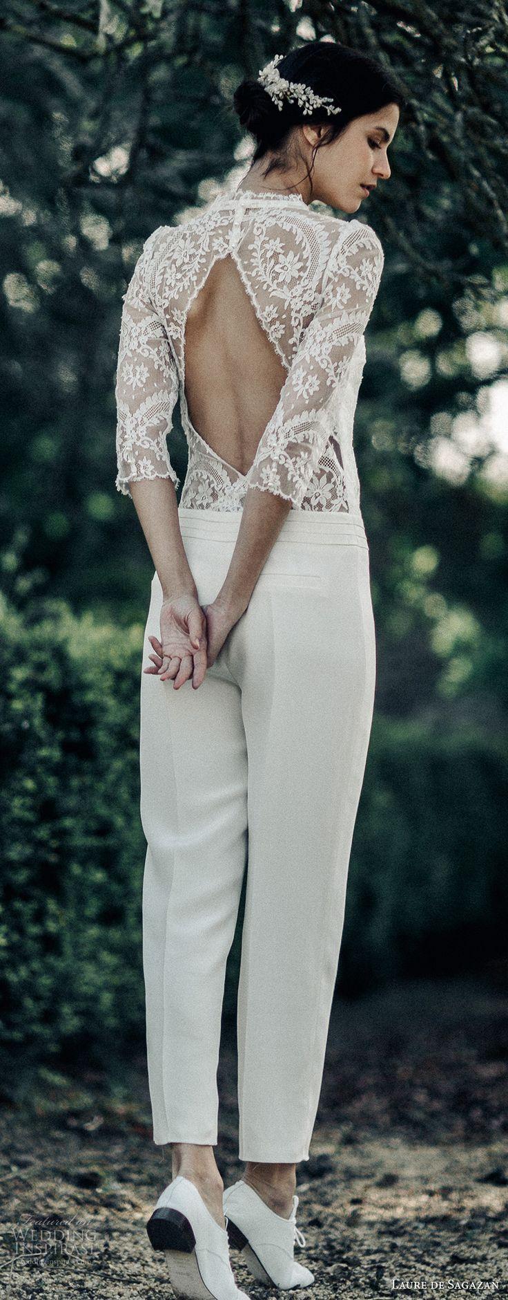 laure de sagazan 2017 bridal three quarter sleeves jewel straight across neck bohemian jumpsuit wedding dress keyhole back (wagner) bv -- Laure de Sagazan 2017 Wedding Dresses