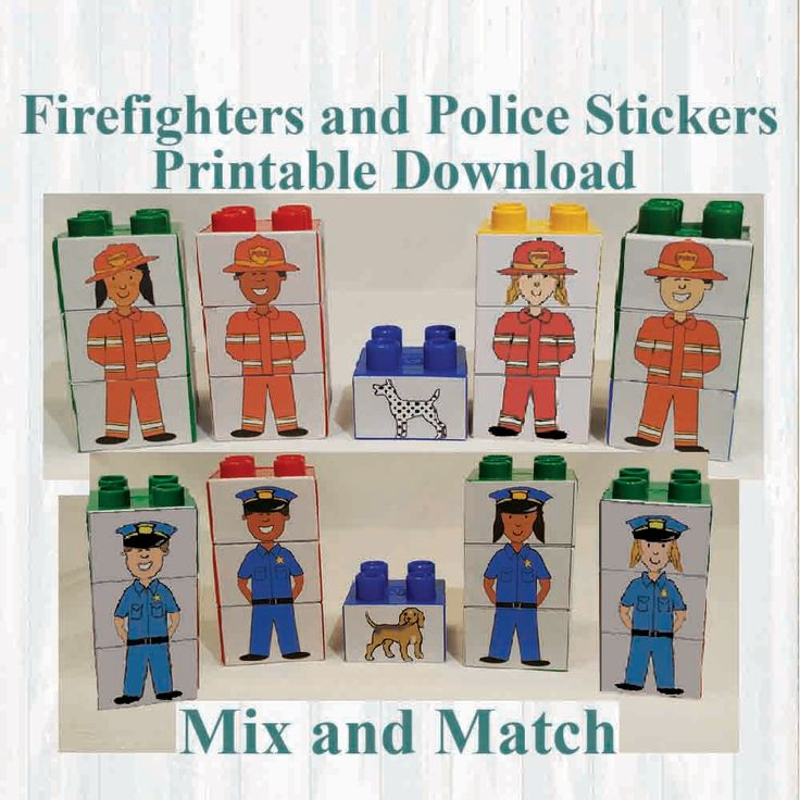Firefighters and Police Officer Stickers. Fridge magnets, Building blocks.Fits Lego, Instant digital download Printable by MoonGloCreations on Etsy