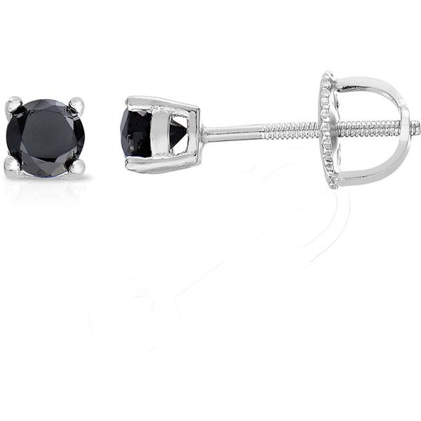 Finesque Sterling Silver or Platinum Over Sterling Silver 1/2 ct TDW... ($62) ❤ liked on Polyvore featuring jewelry, earrings, white, black diamond jewelry, sterling silver black diamond earrings, platinum stud earrings, platinum earrings and round stud earrings