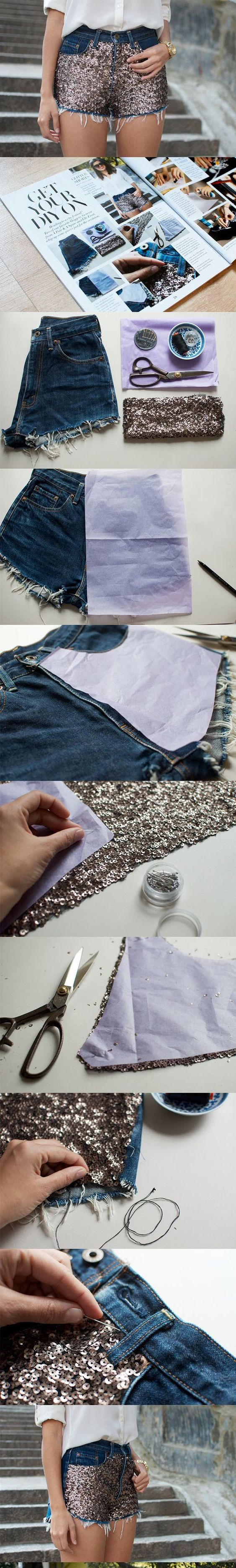 DIY Sequin Embellished Denim Shorts