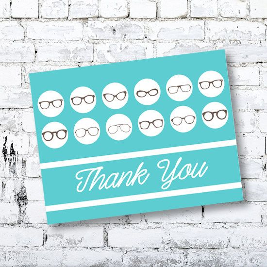 Thank You Card - Glasses - Note Card by Thingsforasmile on Etsy
