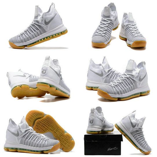 Sale New NIKE KD 9 ELITE Ivory 878637-001 Pale Grey Pale Grey Ivory White Gum Kevin Durant Shoes 2017