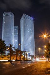 Tel Aviv at night . Azrieli center . Israel