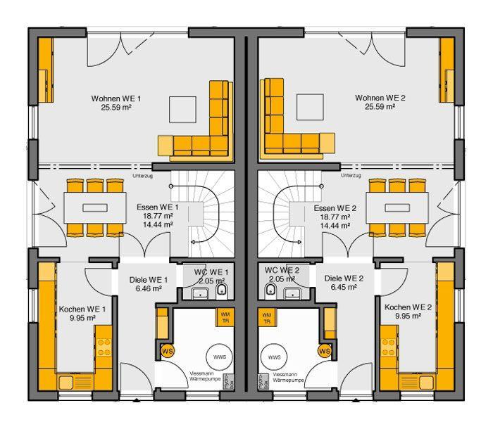 23 besten architektur doppelhaus bilder auf pinterest for Zweifamilienhaus grundriss fertighaus