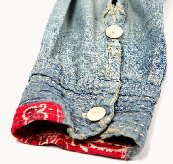 Hand stitch Denim shirt