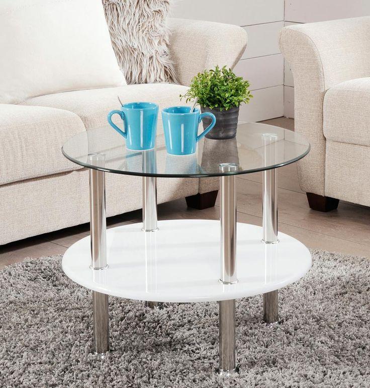 BALI-sohvapöytä kirkas lasi/valkoinen korkeakiilto | Sotka.fi